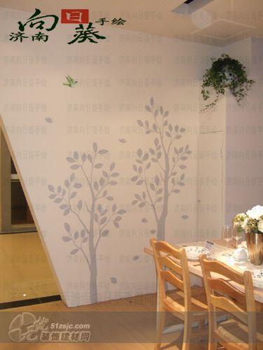 餐厅手绘墙 济南向日葵手绘作品 家居设计图库 效果图,实景